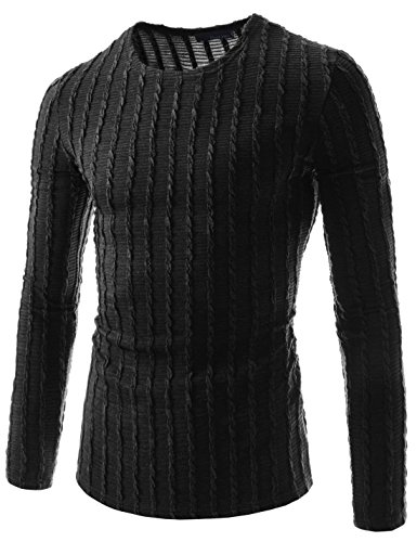 Mens Fitted Shirts - (THK02) Mens Slim Fit Twist Tee Crew Neck Lightly See-Through Stretchy Tshirts BLACK US M(Tag size 2XL)