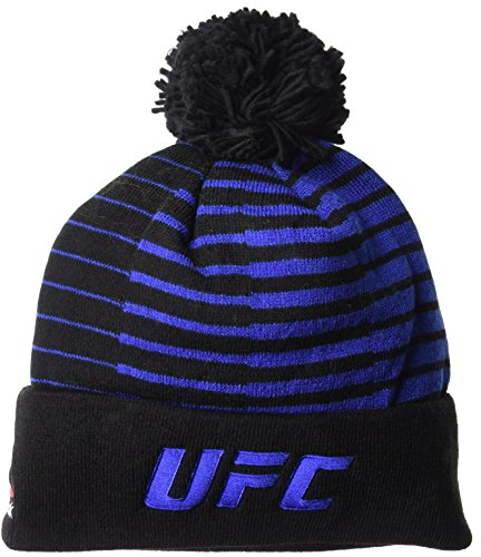 UFC Out of Stripes Cuffed Pom Knit, One Size, Black (Ufc Embroidered Beanie)