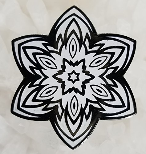 Black White Starburst Sacred Geometry Enamel Hat Pin Festival Pin Grateful Dead Pin Dab Pin Disney Pi