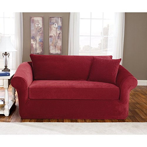 Loveseat Slipcover Box Cushion - Sure Fit SF37619 Stretch Loveseat, Garnet, 3 Piece