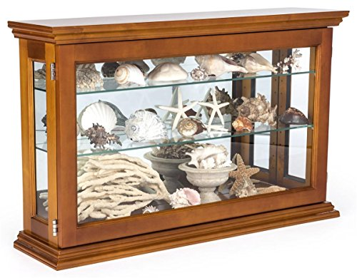 Displays2go Wall or Countertop Wood Curio Cabinet with Adjustable Shelves, Light Oak (CC3222OK) by Displays2go