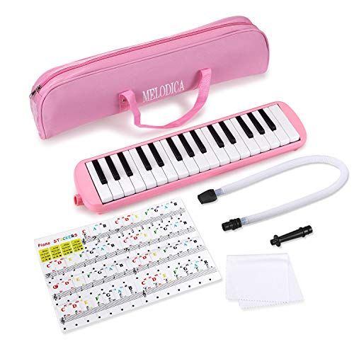 Piano 32 Key Melodica Musical Instrument for Music Lovers Beginners Gift with Carrying Bag Piano Sticker and Cleaning Cloth (Pink)