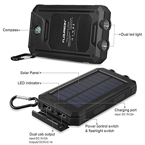 FLOUREON-10000mAh-Solar-Charger-Power-Bank-Waterproof-Portable-External-Battery-Backup-with-Dual-USB-for-Android-iPad-iPhone-Cellphones-LED-Flashlight-with-Compass-for-Emergency