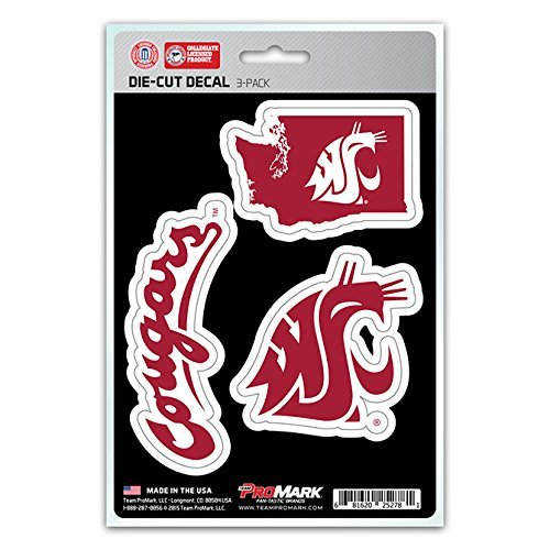 NCAA Washington State Cougars Team Decal, 3-Pack
