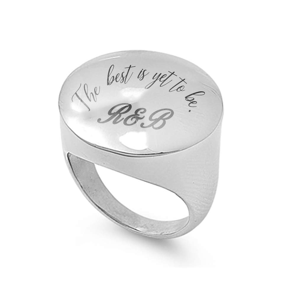 JewelryVolt Personalized Custom Laser Engrave Stainless Steel Rings for Women.The Best is Yet to be Personalize with Your Initials,