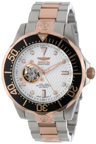 Invicta Men's 13707 Grand Diver Automatic White Textured Dial Two Tone Stainless Steel Watch