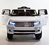 range rover electric car - LARGE POWERFUL! RANGE ROVER WHITE! REAL RUBBER WHEELS! With double Motors! WITH REMOTE CONTROL ELECTRIC CAR high speed 5,5 km/h! Ride on toy car from two years!