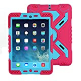 iPad 2 3 4 case, Meiya New Waterproof Shockproof Dirt Snow Sand Proof Survivor Extreme Army Military Heavy Duty Cover Case Kickstand for Apple iPad 2 3 4 Children Gift 2/3/4 Children kid full protection light weight iPad case (Pink+Blue)