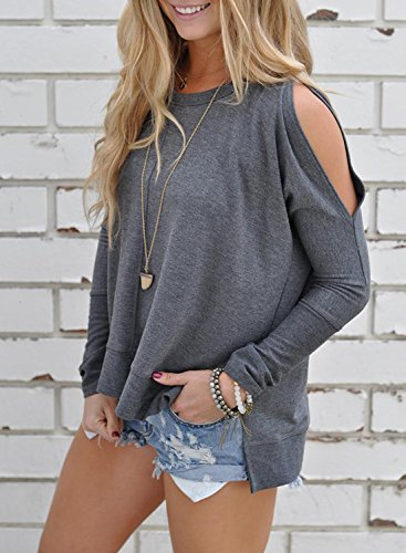 Sleeve Long Pullover Shoulder Slit Achicgirl Tee Women's Grey Off PgqWaI