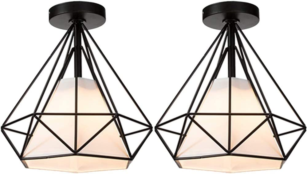 2 Pcs Lámpara de Techo Vintage Industrial Luz de Techo Colgante Retro Interior Plafón en Forma de Diamante Φ250mm E27 Iluminación Cocina Loft Pasillo Baño Bar (Negro)