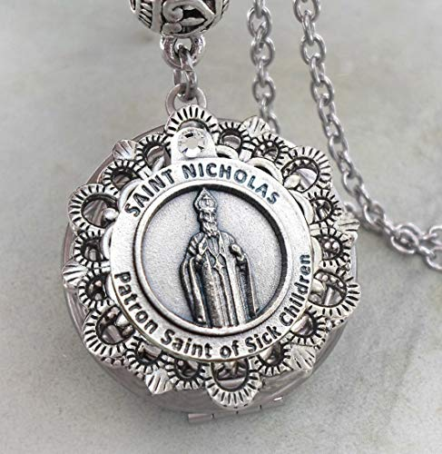 Saint of Sick Children Locket Necklace, Gift of Support Parent of Sick Child, Nurse, Pediatrician Gift, Get Well, Holds Two Photos ()
