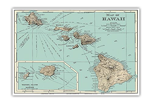 Map of Hawaii - Rand McNally Atlas - Vintage Colored Engraved Cartographic Map c.1898 - Hawaiian Master Art Print - 13 x 19in (Paintings Bright Colored)