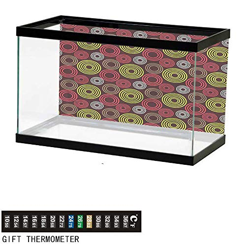 bybyhome Fish Tank Backdrop Geometric,Funky Vortex Lines,Aquarium Background,24