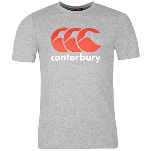 Canterbury Mens Large Logo T Shirt Short Sleeve Crew Neck Rugby Tee Top Sports Grey M