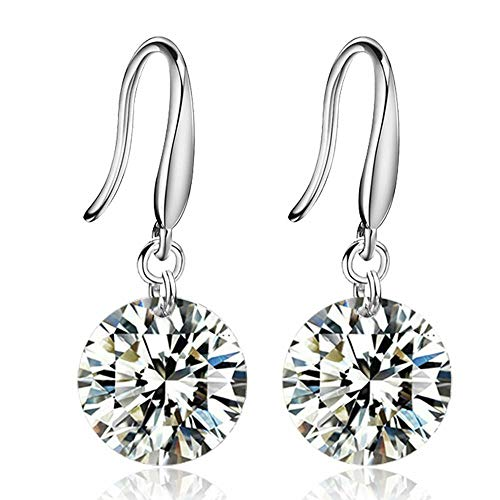 - AAA Rhinestone Silver Plated Earrings For Girls Accessories Diameter 8 Mms