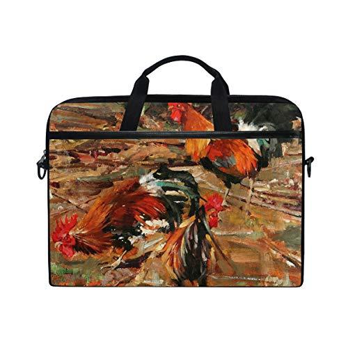 Laptop Bag for Men Women Canvas Shoulder Messenger Bag with Rooster Fits 15-15.4 Inch