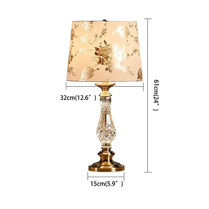 Amazon.com: ChuanHan Ceiling Fan Light Chandelier Lightings Table Lamp Modern Contemporary Transparent K9 Crystal Chrome Table with Silver Rose Flower Cloth ...