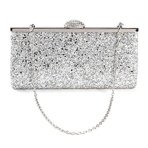 Anladia All-Over Glitter Design Women Clutch Evening Handbag Clasp W/ Shiny Rhinestones ()