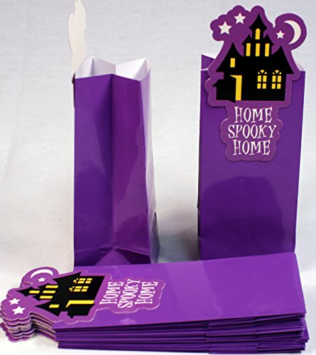 Creative Hobbies Glossy Coated Paper Treat Goody Bags, 6.5 x 3 Inch, Halloween Purple with Haunted House, Pack of 12 Bags -