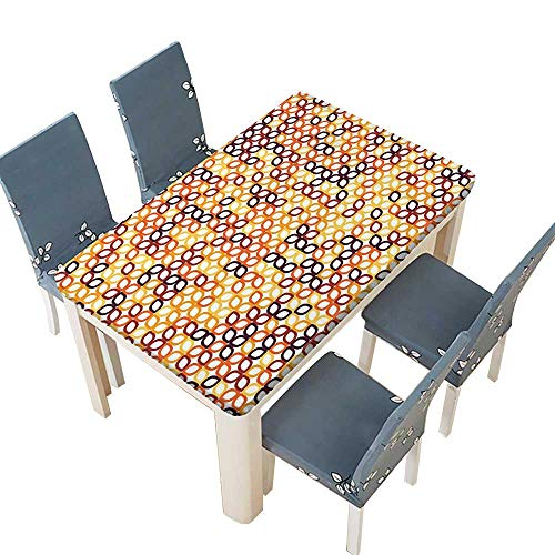 (PINAFORE Polyester Fabric Tablecloth Complex Structured Geometric Petal Pattern with Colorful Chained Line Grid Modular Illustr Suitable for Home use W61 x L100 INCH (Elastic Edge))