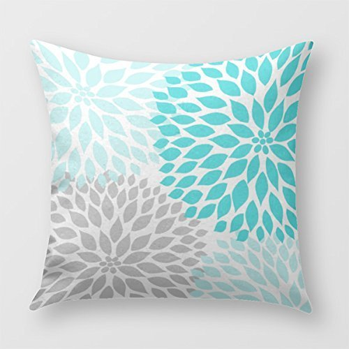 SIXSTARS Turquoise Dahlia Pillow Bedroom