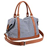 S-ZONE Women Ladies Canvas Weekender Bag Overnight Carry-on Duffel Tote Bag With PU Leather Strap (Blue)