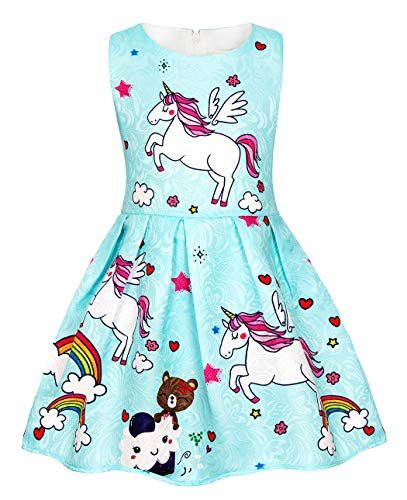 (Cotrio Little Girls Unicorn Themed Birthday Party Dress Rainbow Dresses Summer Sleeveless Pleated Skirt Toddler Clothes 3-10 Years (Size 8, 7-8 Yrs, Blue))