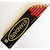 12 non-affûtage cire Chine Crayon de repère, Couleur Rouge 17cm