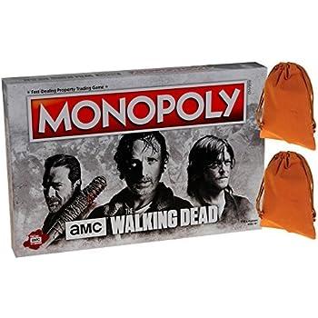 Monopoly AMC Walking Dead Board Game _ Bonus 2 Brown Velveteen Drawstring Pouches _ Bundled Items