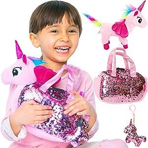 Little Jupiter Rainbow Unicorn Plush Pet Set with Purse 3PC Unicorn Toys Fancy Plush Toys Unicorn Gift for Girl Children Girl Toys Unicorn in Purse