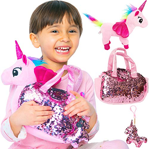 Little Jupiter Rainbow Unicorn Plush Pet Set with Purse 3 PC Unicorn Toys - Fancy Plush Toys Bag - Plush Toy - for Girl - Pink - Children - Girl - Toy Girl Plush