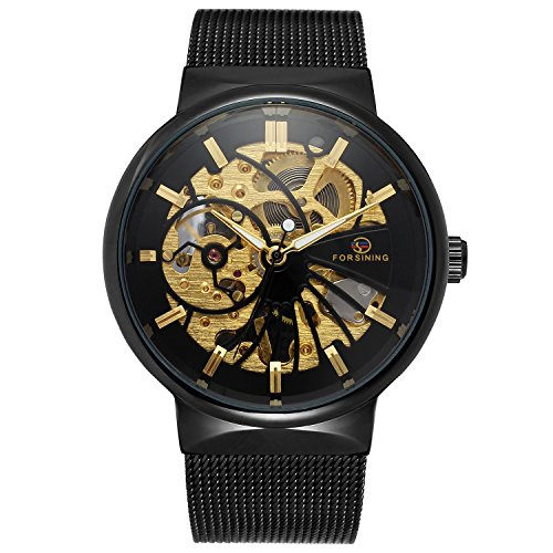 Bestn Classic Hand-Wind Mechanical Wrist Watch Big Dial Skeleton Stainless Steel Band Waterproof (Balck)