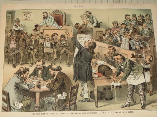 1886 Puck Lithograph - Chicago Anarchists - A Trial By a Court of Their Peers - Frederic Opper