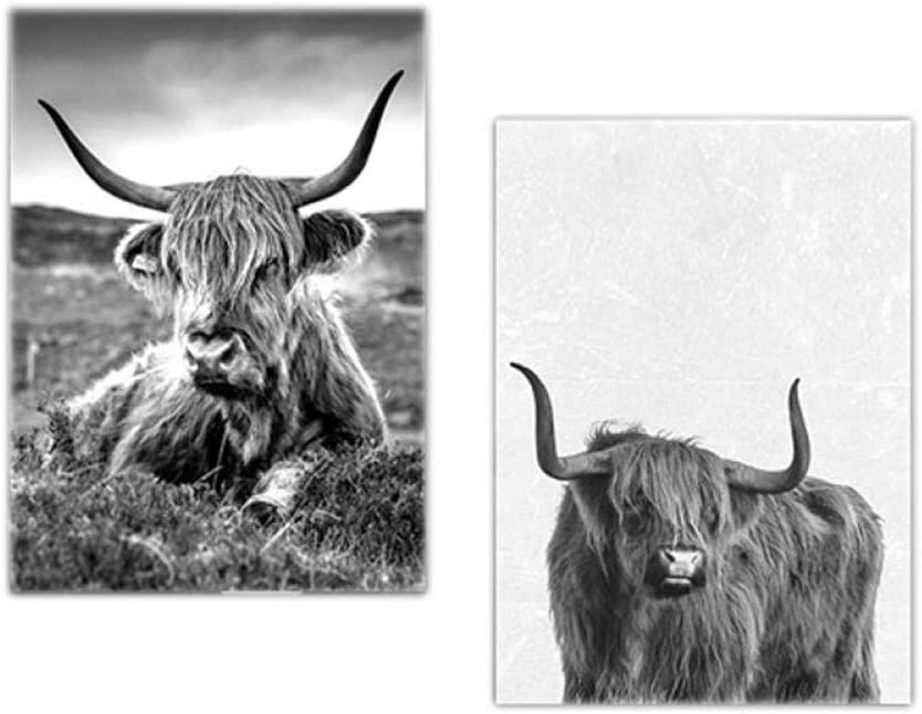 Minimalist Farm Animal Canvas Paintings Highland Cow Prints Wall Art Highland Bull Posters Modular Pictures Aesthetic Room Decor 40x60cmx2 No Frame Posters Prints