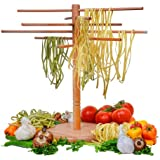 """DB-Tech Wooden Pasta Drying Rack - Six 18"""" Dowels for a total 9ft. of drying space"""