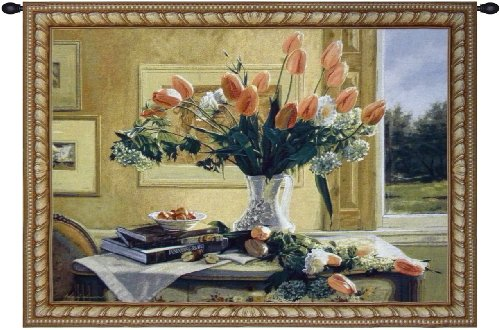 French Tulips and Crabapples Tapestry Wall Art