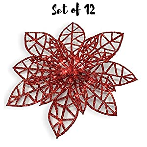 BANBERRY DESIGNS Poinsettia Ornaments - Holiday Decorations - Artificial Poinsettia Ornaments 2
