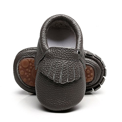 Hard Grey Rubber (HONGTEYA Leather Baby Moccasins Hard soled Tassel Crib Toddler Shoes For Boys and Girls (12-18 Months/5.12inch, Grey))