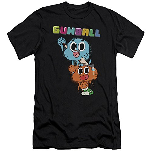 Amazing World of Gumball Gumball Spray Slim Fit Unisex Adult T Shirt for Men and Women, Large Black