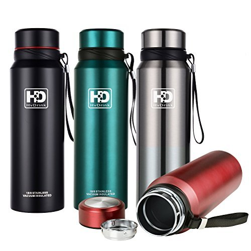 Water Bottle Insulated Stainless Steel Wide Mouth Vacuum Thermos, Built-in Filter, with Leak Proof Cap and Strap, Idea For Drinking At Home, Office, Gym, Cycling, Traveling, Camping (New Teal, 37 oz)