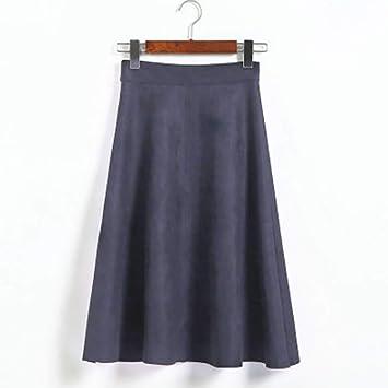 FSDFASS Faldas Falda elástica Cintura Alta para Mujer Otoño ...