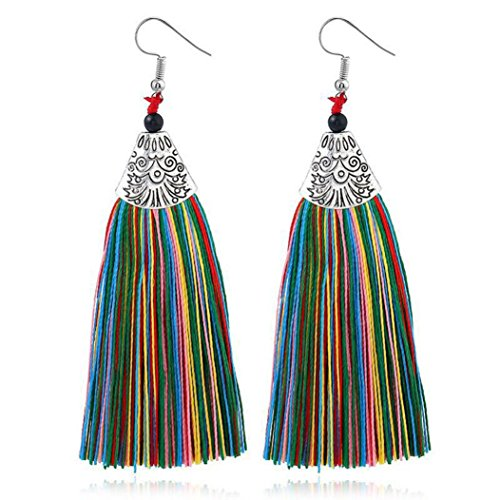Beuu Jumping Property Prices Women Fashion Rhinestones Wool Tassels Earring Gorgeous Jewelry Retro Jewelry Earring Women'S Fashion Stud Elegant Silver Classics Pearl Dangle Gold Vintage (A)