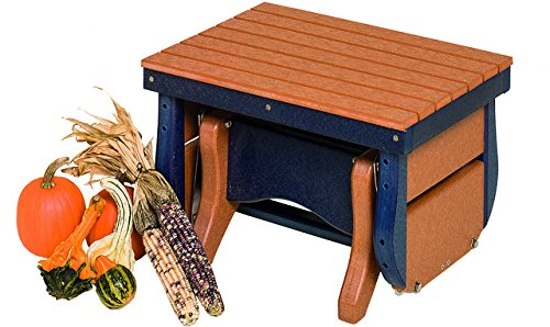 (Poly Lumber Gliding Ottoman in Cedar & Black - Amish Made in)