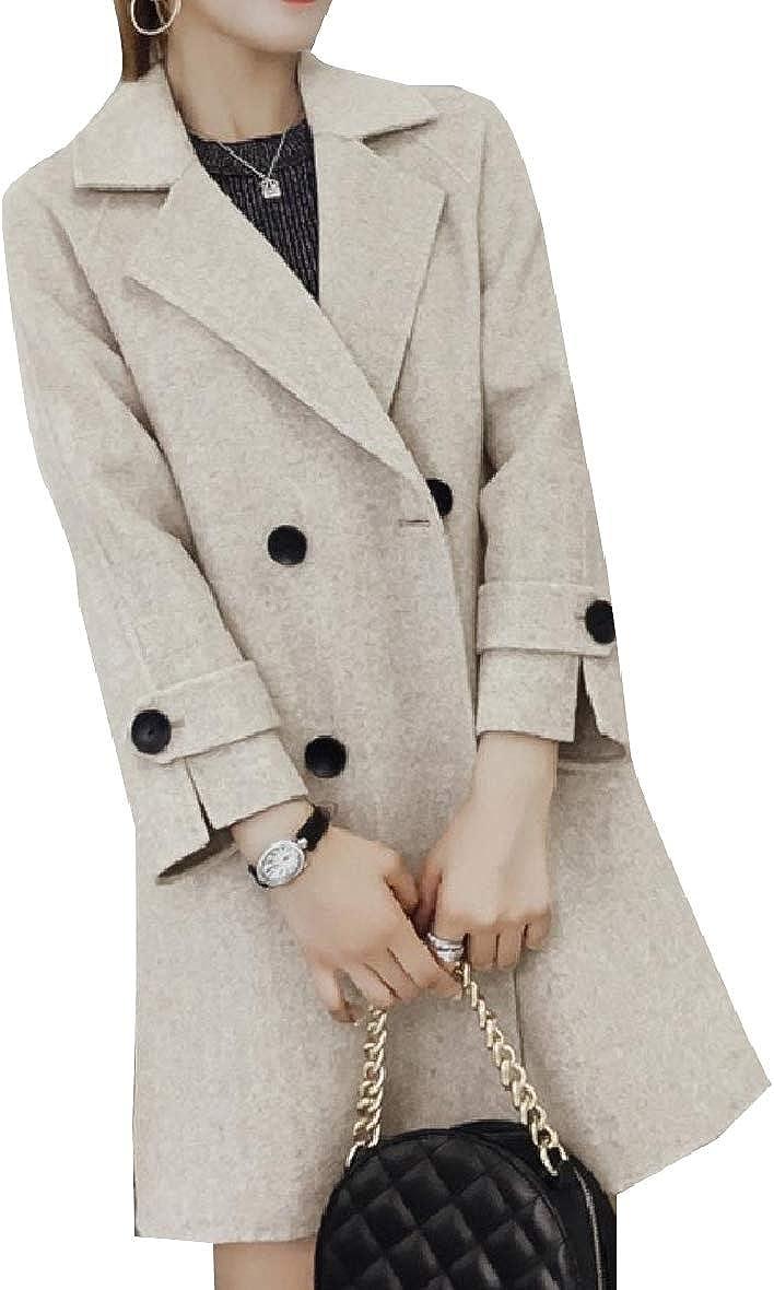 Unastar Women Woolen Trim-Fit Button Trench Outwear Notch Lapel Pea Coat