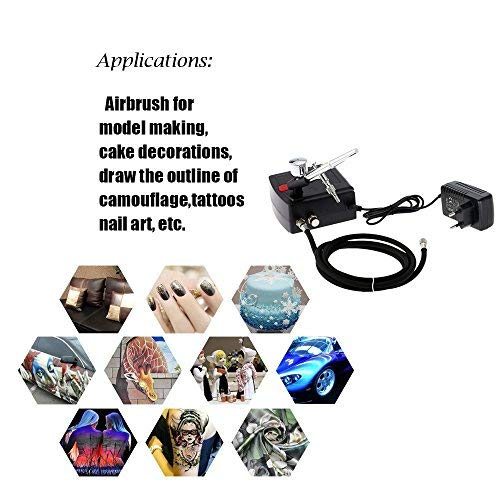 Gocheer 100-250V Profi Double Action Schwerkraft Airbrush Pistolen Set mit Mini Kompressor Airbrush Halter für Kunst Tattoo Nail Art Make-up Handwerk Kuchen Spray Modellierung Werkzeug
