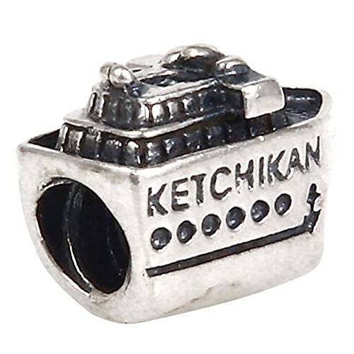 Ketchikan Alaska Ship Charm 925 Sterling Silver Boat Charm Travel Charm Vacation Charm for Charm Bracelet (B)