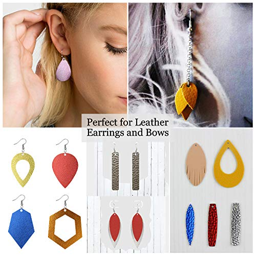 10pcs Metallic Faux Leather Sheets + 10pcs Double Sided Litchi Synthetic Leather Fabric Sheets(6''x 6'') with 140pcs Earring Hooks, 140pcs Jump Rings, Pliers and Cut Molds for Earring Making Crafts by SIMPZIA (Image #6)