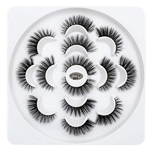DYSILK 7 Pairs 3D Mink Eyelashes Fuax Natural False Eyelashes Fluffy Fake Eyelashes Dramatic Look Eyelashes Extension Makeup Long Handmade Soft Thick Lashes Resuable Black