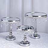 hanging cake stand - Efavormart Set of 3 Round Silver Metallic Modern Cup Cake Stand with Hanging Acrylic Crystal