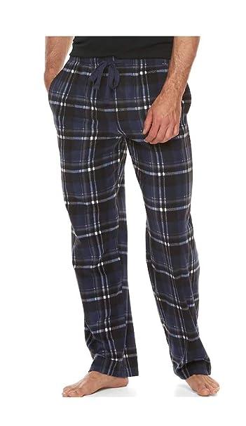58fabe0887fe Croft and Barrow Mens Navy Black Plaid Brushed Sleep Lounge Pajama Pants  Clothing
